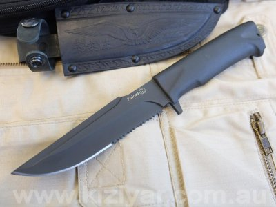 Kizlyar Falcon - Tactical Knife (Leather Sheath)