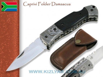 Kappetijn Caprivi Folder - Black Micarta, Damascus Bolsters