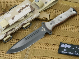 J & V Adventure Knives - Combat, Military knife - Black / Desert