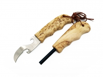 Wood Jewel Survival Kit With Curly Birch Handle